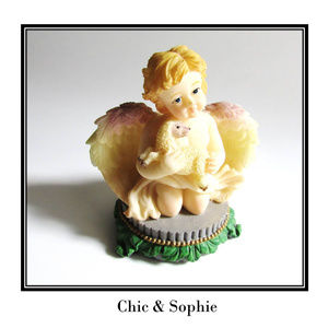 Sitting Child Angel Wings Baby Lamb Figurine